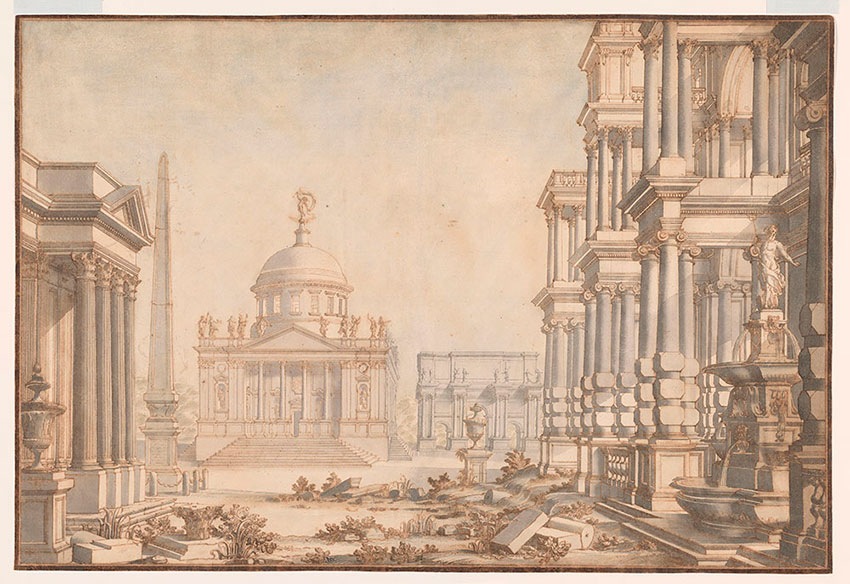 Giuseppe Galli, Capriccio of Rome with Triumphal Arch and Neptune Fountain, No. 7, RECTO Collection of Jules Fisher, Bibiena drawings, L2019.137.7