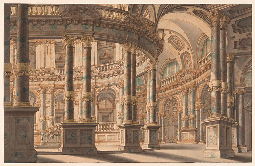 Giuseppe Galli, attr, Interior of a rotunda, watercolor, No. 10, RECTO Collection of Jules Fisher, Bibiena drawings, L2019.137.9