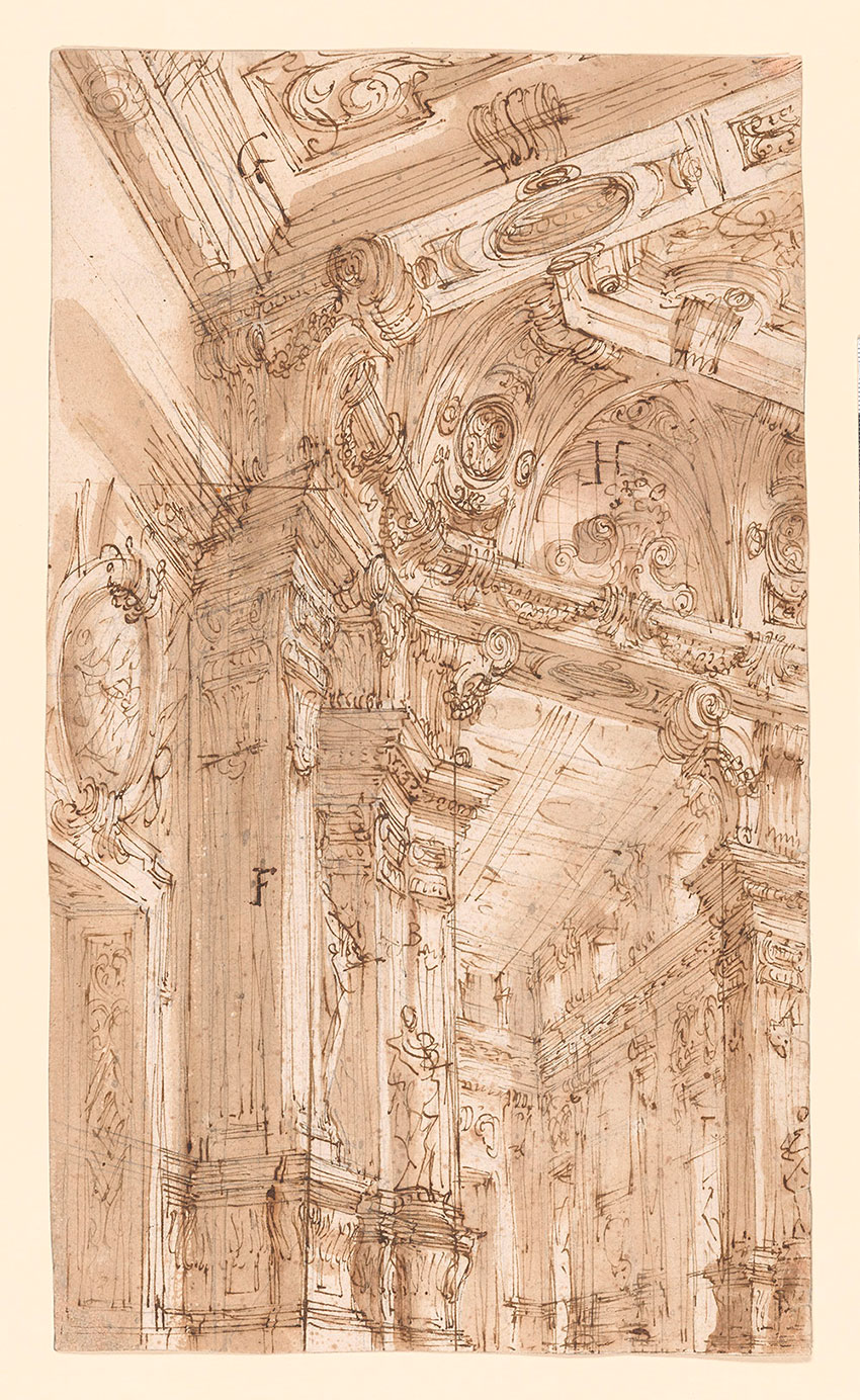 Ferdinando Galli, The Left Portion of a Palatial Hall, a Design for the Stage, No. 12 RECTO Collection of Jules Fisher, Bibiena drawings, L2019.137.10