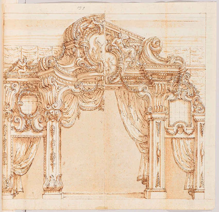 Bibiena Family, Albums of Drawings by the Bibiena family, p. 118, Studies for a Proscenium Arch, ca. 1710(?)., Deposit of Jules Fisher, TMP 1987-001.1