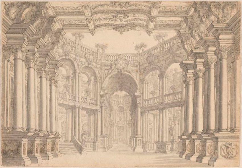 Attributed to Carlo Galli Bibiena, Colonnaded Stage Set, ca. 1750.